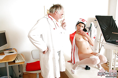 Pleasant nurse is showing..