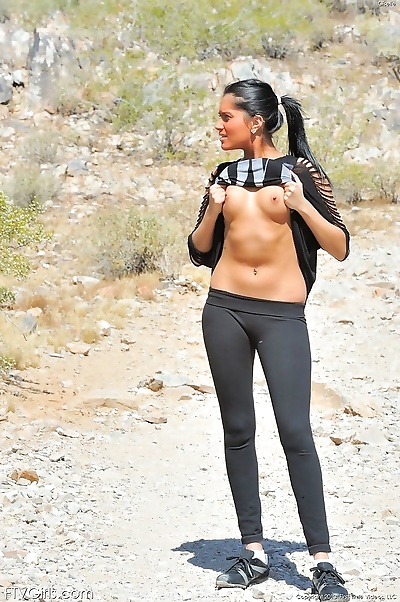 Giselle plays on the trail -..