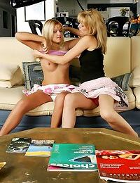 Delightful blondes strip and use strapon - part 1144
