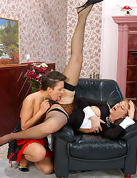 Old and young maids prefer playing slits and clits to boring daily chores - part 7