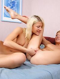 Divine blondes strip lick and try fisting - part 100
