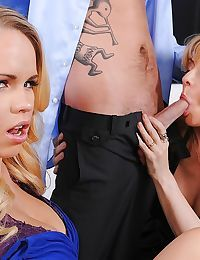 Babes Nina Hartley and Britney Young are sucking this dong 2gether