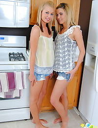 Amateur blonde Codie Sweets undresses her hot friend for kitchen kissing