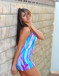 Erotic young Shyla Jennings topless outdoors squatting to flash naked upskirt