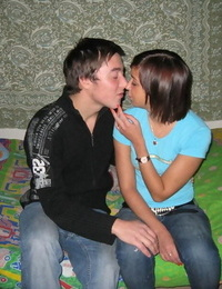 Horny teens kiss before undressing for a hard couples fuck on their shared bed