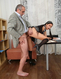 Schoolgirl Natalie has hardcore sex with a kinky old teacher in his office